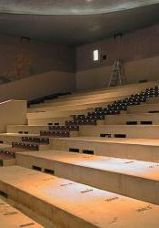 A photo showing the ventilation slots in the risers of the stadium seating section at the Villa Theatre