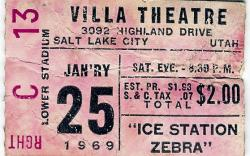 "Ticket stub for seat C13 in the Right Lower Stadium section, for the 25 January 1969 showing of ""Ice Station Zebra"" at the Villa Theatre"