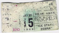 "A ticket for a seat in the Center Upper Stadium section, for the 15 January 1969 evening showing of ""Ice Station Zebra"" at the Villa Theatre"
