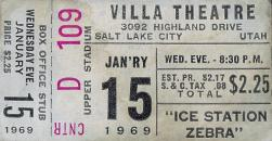 "Complete ticket stub for ""Ice Station Zebra"" at the Villa Theatre on 15 January 1969"