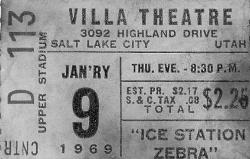 "Ticket stub for seat D113 in the Center Upper Stadium section, for the 9 January 1969 showing of ""Ice Station Zebra"" at the Villa Theatre"