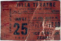 "A stained ticket stub for seat K10 in the Left Upper Stadium section, for ""Ice Station Zebra ""at the Villa Theatre"