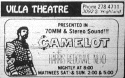 "Ad for ""Camelot"" in 70mm."