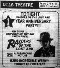 "One year anniversary ad for ""Raiders of the Lost Ark""."