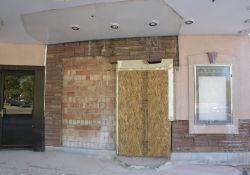 The expanded ticket booth that Carmike Cinemas built in 1996 has been removed