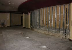 The concession stand has been removed from the lobby of the Villa Theatre